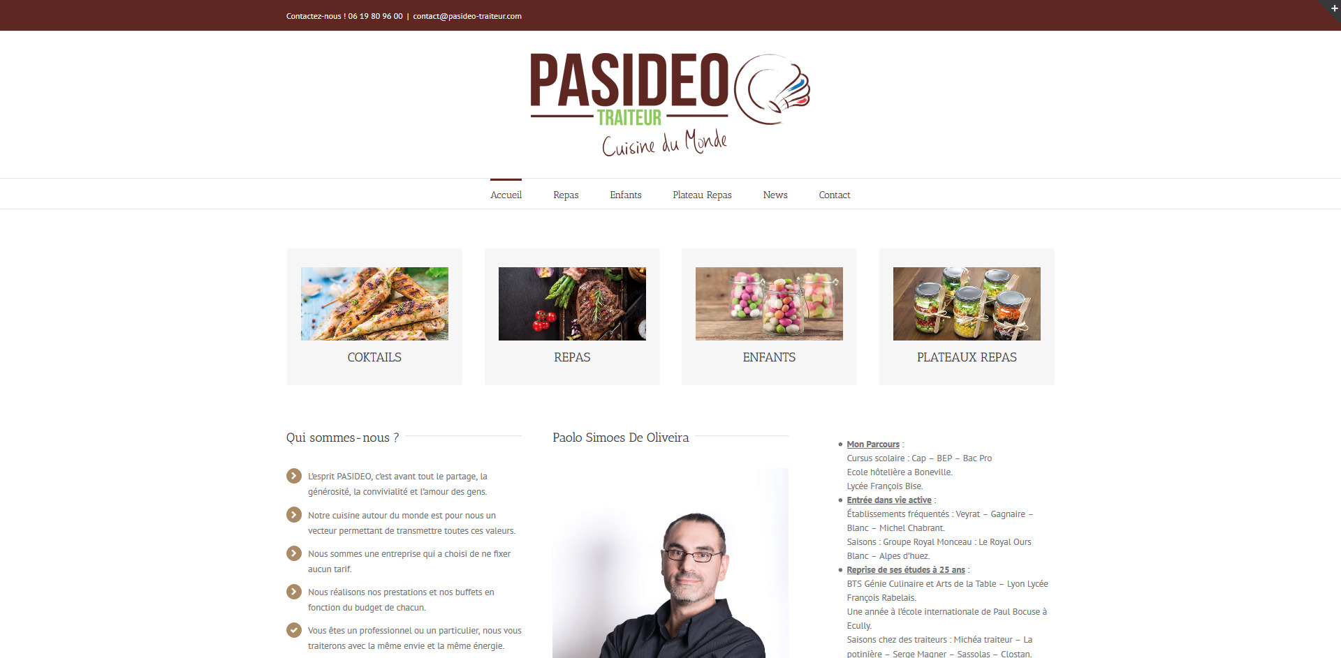 pasideo traiteur, o logo, parc des vallieres, vourles , leasy concept, louer mon site, location de site, vente de site internet, site web, lyon, rhone alpes, creation de site internet